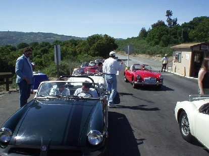 Sharon and I (along with Burt, my neighbor, and Nikki following in a white '63 MGB) got lost around seaside, but still made it to Laguna Seca at the same time as some of the others we initially caravaned with who went an entirely different route!