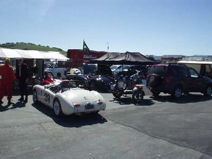 While searching for the restrooms we saw some really cool cars.  Here's a white MGA race car.