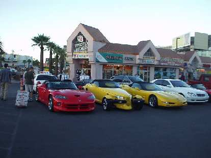 A Viper, Prowler, and Corvette from Dream Cars Rental Company.