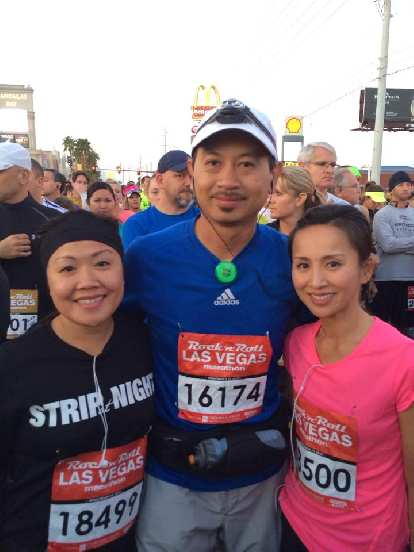 Hien, Bandy and Thao at the start of the Rock 'n' Roll Las Vegas Marathon.