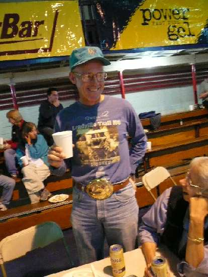 """Look at the size of Doug's """"under-25 hours"""" buckle from a previous Leadville 100!"""