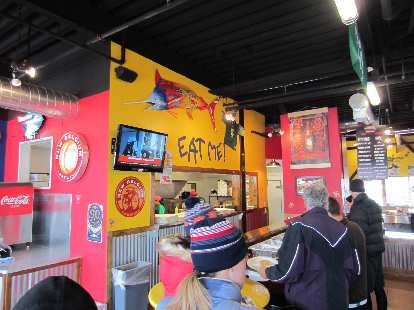 """""""Eat me!"""" Post-race breakfast was at Fuzzy's Tacos this month."""