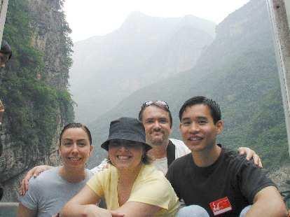 Martrese, Karen, John, and Felix Wong on the Daning River.