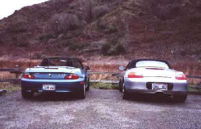 "[Point Reyes, Feb 2001 ""German Art"" meets ""Brit Boxster"" at the parking lot just south of the Coast Trail."