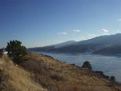 Belying the sunny skies and honey-colored grasses was the Horsetooth Reservoir, which was still partially frozen.