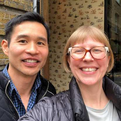 Felix with his ol' friend Debby after having lunch at the Tramshed in the Shoreditch area of London.