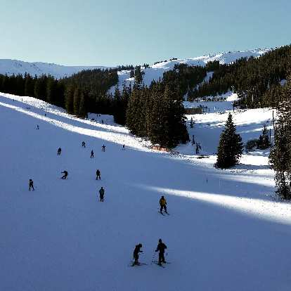 Skiers at Loveland Ski Area. It was a beautiful day for skiing and snowboarding.