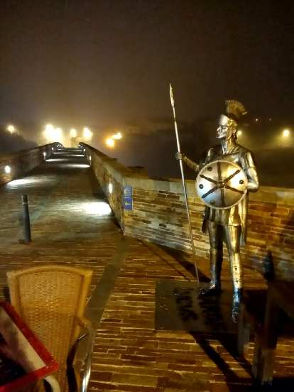 I passed by this statue of a Roman warrior on the Puente Romano (Roman bridge) as I walked out of Lugo to continue my journey on the Camino de Santiago.
