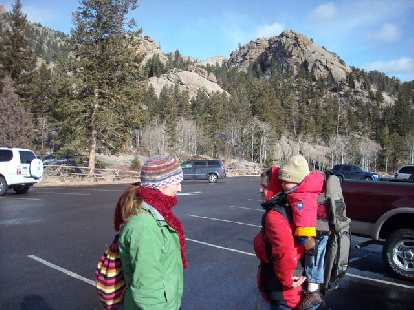 Tori, Dana and Alistair in one of the main parking lots for Lumpy Ridge.