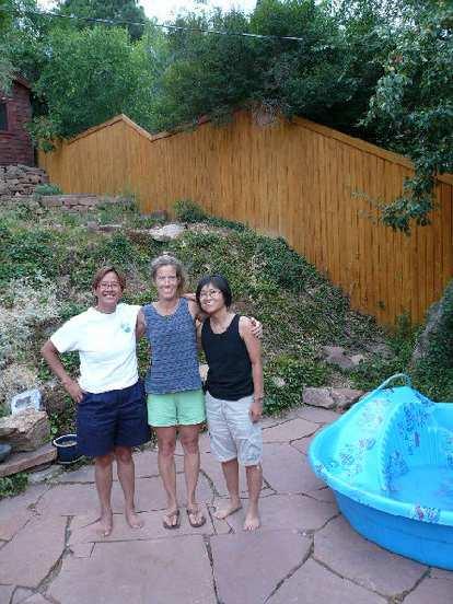 Ann, Lynn, and Stacey in Lynn's back yard.