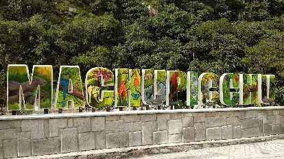 A Machu Picchu sign.