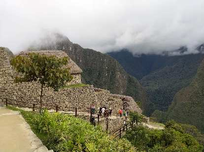 Descending steps down to Machu Picchu.