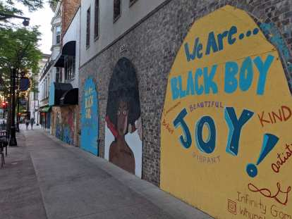 """""""We are... black boy"""" mural in Madison, Wisconsin"""