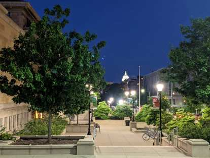 The view towards the state capitol from the Alumni Park at the University of Wisconsin in Madison.