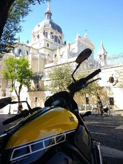 Yamaha XSR 700 60th Anniversary in front of Catedral de la Almudrena in Madrid, Spain.