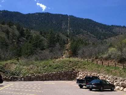 View of the Manitou Springs incline from the base trailhead.