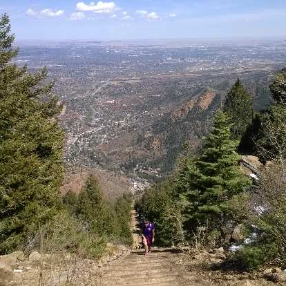 View of Colorado Springs from the top of the Manitou Springs Incline.