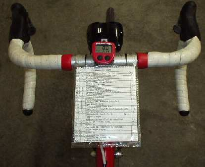Map Holder 1.0: my first design (circa 2002) was good except that my knees would occasionally graze it when pedaling out of the saddle.