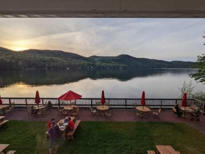Lake Morey in Fairlee, Vermont, as seen from the Lake Morey Resort.
