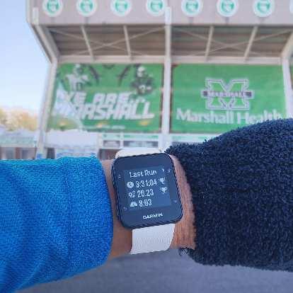 My finishing time for the Marshall University Marathon.