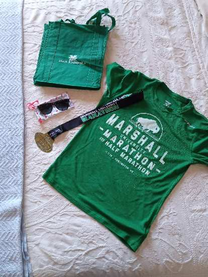 Some of the the schwag received from the 2019 Marshall University Marathon.