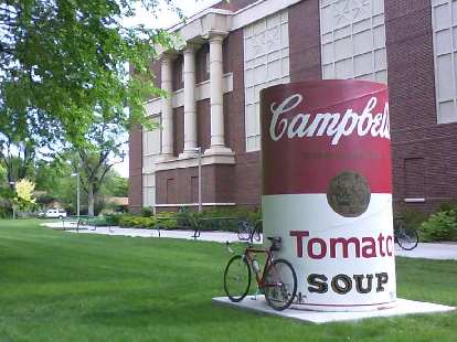 On the way back home -- about a mile from the Mason Trail -- I passed by the University Center for the Arts with a huge Campbell soup can in front.
