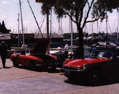 MGB's by the harbor.
