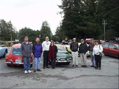 """After having a nice lunch from the menu replete with items such as """"The Ducati"""" [French toast] and """"Triumph"""" [a turkey burger], MGOC members gathered for a group shot in front of some of the cars."""