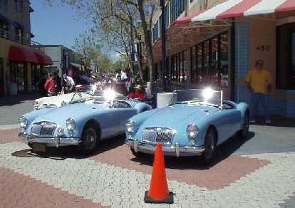 Two sparkling, light blue MGAs... both very nicely restored.  The one on the left is Mike Jacobsen's, who reportedly has put on several HUNDRED of THOUSANDS of miles on his in the several decades he has owned it!