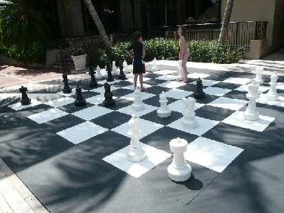 Life-size chess board at the Grove Isle Hotel & Spa.