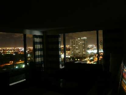 The view of the city lights from my room at night.