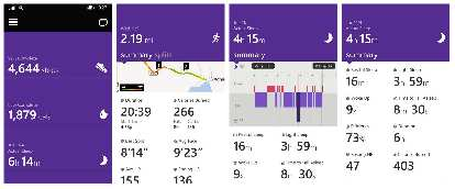 A few of the metrics available in the Microsoft Health app include steps, run tracking (with GPS map), and sleep tracking.