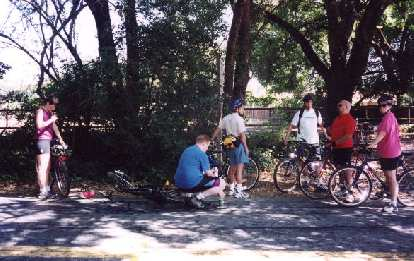 Regrouping before the major climb of the day: Old La Honda Rd.  Here's Lisa, Bruce, Loren, Acorn, Mike, and Suzie.  Gina and Tyler would soon join us on the climb.
