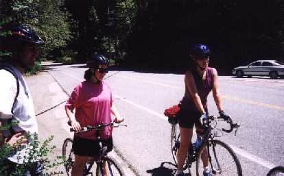 Regrouping before another climb: Pescadero Rd.