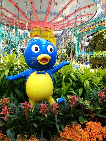 An astonished duck at the Mall of America.  Apparently it is Pablo from Backyardians.