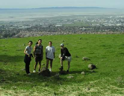 Half of our group, about 15 minutes into the hike: Merry, Felix, Evelyn, and Kathleen.