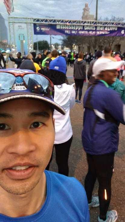 Felix Wong at the start of the 2019 Mississippi Blues Marathon.