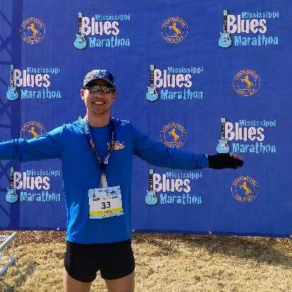 Felix Wong after finishing the 2019 Mississippi Blues Marathon.