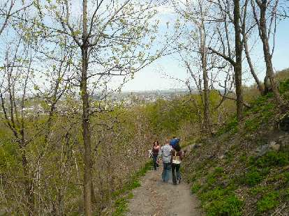 Walking down a trail on the east side of Parc Mont-Royal.
