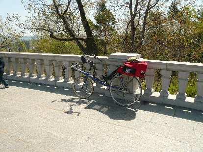 A recumbent bicycle at Le Chalet du Mont-Royal.