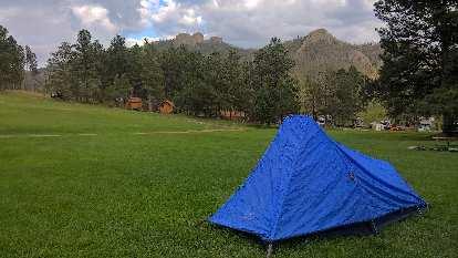 blue 1999 Sierra Designs Clip Flashlight CD tent, Horsethief Campground