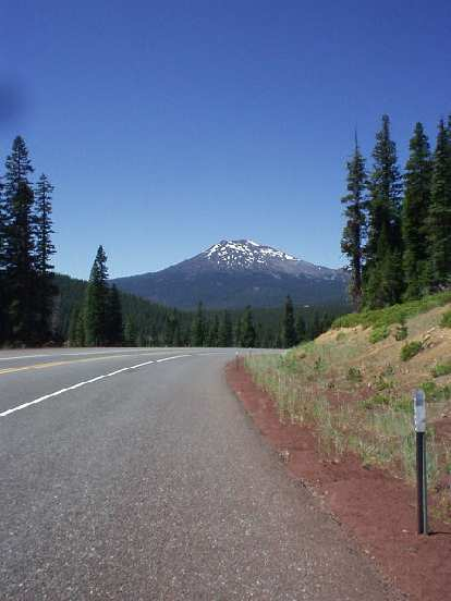 [Mile 18] Getting closer to Mt. Bachelor.  Great views and no traffic along the Cascade Lakes Highway (Highway 46).