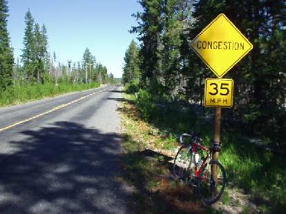 On Highway 40, I thought this sign was kind of funny, since the only vehicular traffic on this road for many, many miles was my race bike!