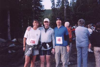 Felix Wong joins in the picture just before the 8:00 a.m. start of the race, which began at just 10,600'.