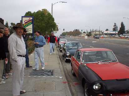 MG's all lined up at the Jack and the Box off of Alum Rock Rd.  That's Randy in the foreground, facing Dan Shockey's MGB GT.