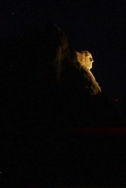 It was a serene Friday night for me, having driven along Highway 244 to see the lighting of Mt. Rushmore.  You can see George Washington here.