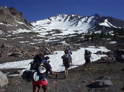 In mid-July, the snowpack had already melted at 8000 feet, allowing us to start at the Ski Bowl trailhead instead of the more traditional Bunny Flat parking lot.  This allowed us to cut out about 1000 feet of climbing.