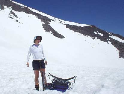 Here's Wendy after making it to base camp at Helen Lake.