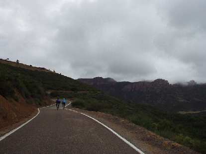 [Mile 47, 9:03 a.m.] As the morning showers and fog burned away, cyclists were treated with stunning vistas as the undulating Mulholland Highway carved its way through the Santa Monica Mountains.