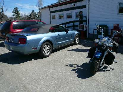 American iron: the 'Stang and a Harley at Moody's Restaurant in Waldoboro.